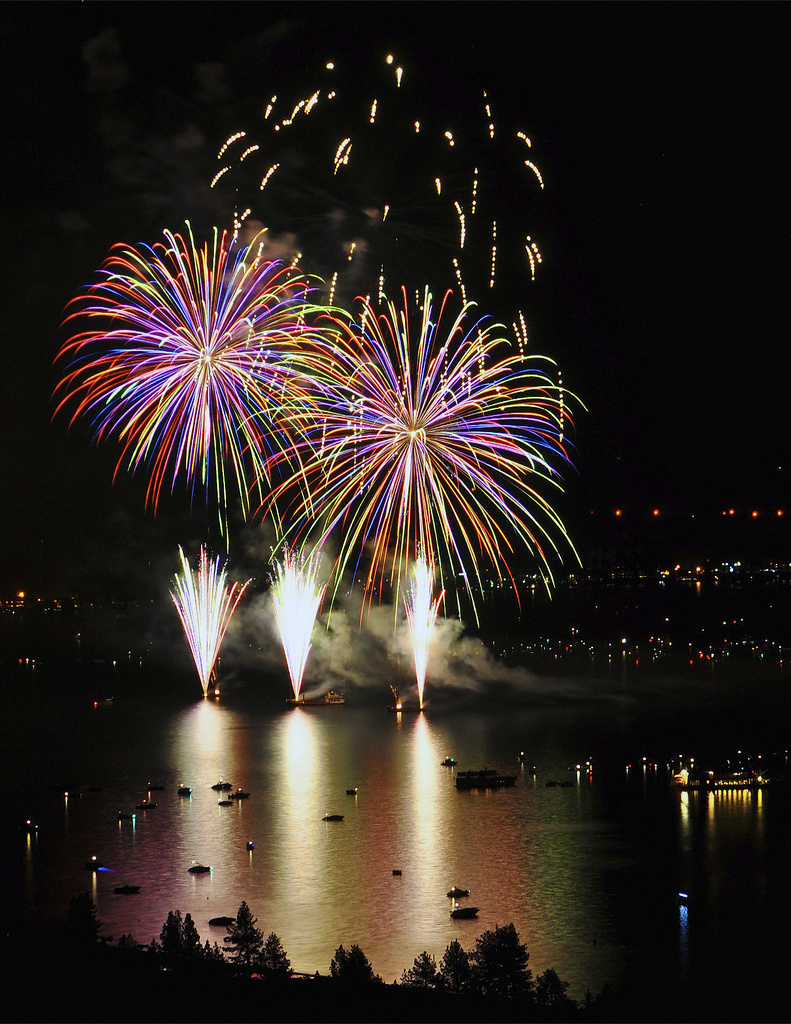 Fireworks, 4th of July, Lake Tahoe.