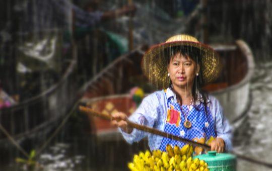Banana Vendor in the Rain