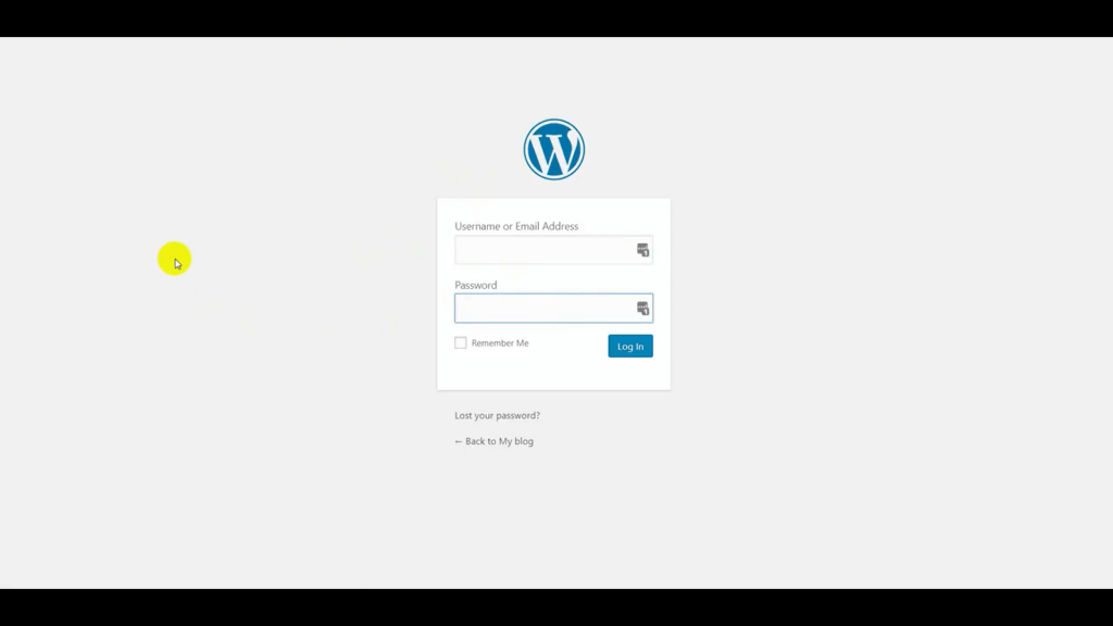 WordPress log in screen