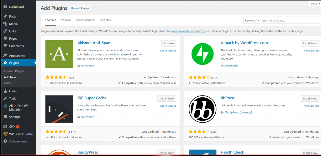 WordPress add new plugin screen