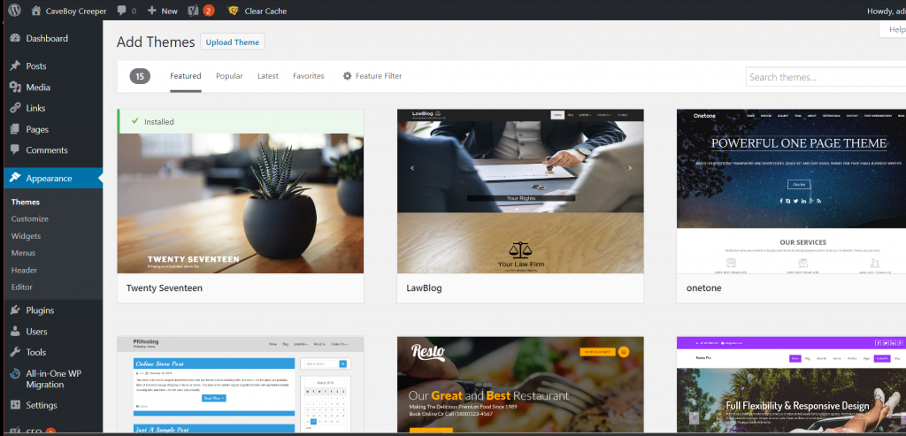 Add New WordPress Theme